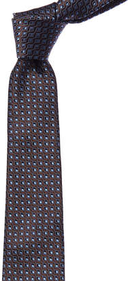 Canali Brown & Blue Geometric Silk Tie