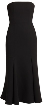 Valentino Strapless Wool-Blend Midi Dress