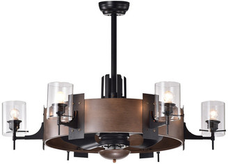 Warehouse Of Tiffany Lodgin Faux Ceiling Fan w/ Glass Pillar Lamps (includes Remote & Light
