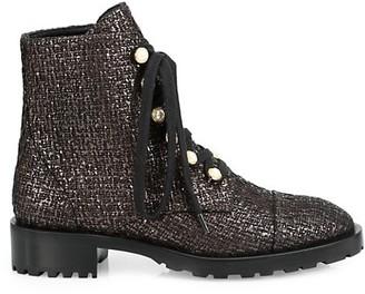 Stuart Weitzman Reysen Metallic Tweed Leather Combat Boots