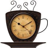FirsTime 9 in. x 9 in. Bronze Square Coffee Cup Wall Clock