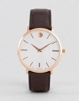 Movado 0607089 Ultra Slim Leather Watch In Brown
