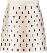 Tory Burch Embellished silk and wool-blend twill mini skirt