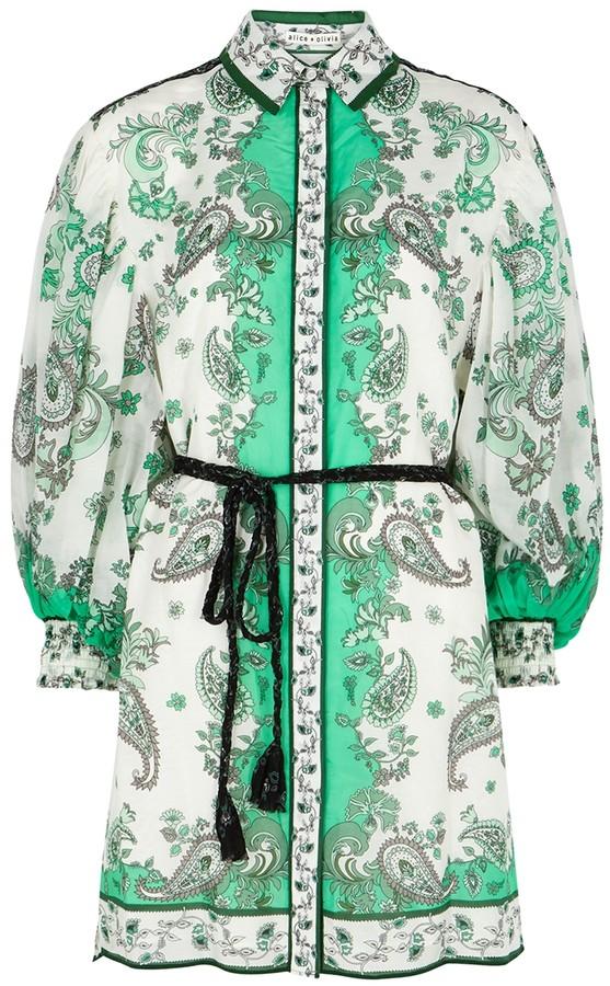 Alice + Olivia Oralia printed cotton-blend shirt dress