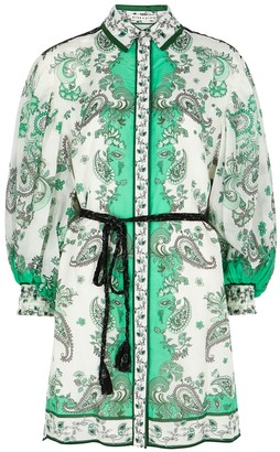 Alice + Olivia Oralia printed cotton-blend shirt dress