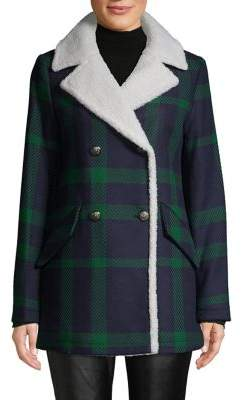 French Connection Faux Shearling-Trim Plaid Double-Breasted Coat