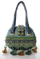 Mary Frances Blue Green Embellished Round Structured Small Clutch Bag