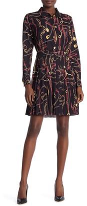 Alexia Admor Aria Long Sleeve Pleated Shirt Dress