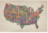 "'Us Cities Text Map Vi' Canvas Print by Michael Tompsett, 22"" x 32"