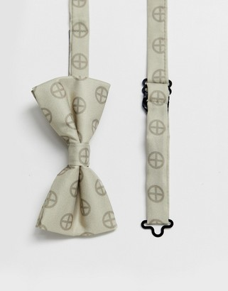 Religion wedding printed sateen bow tie in champagne