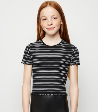 New Look Girls Stripe Frill T-Shirt