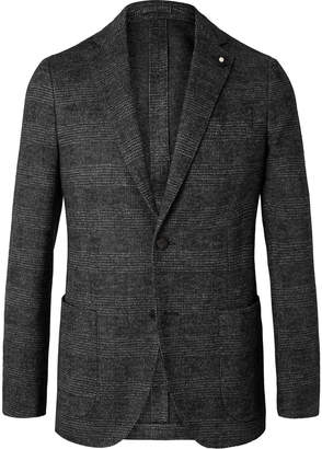 Lardini Brown Slim-Fit Unstructured Prince Of Wales Checked Wool Blazer