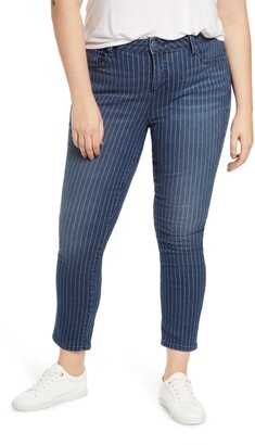 SLINK Jeans High Waist Pinstripe Ankle Jeans