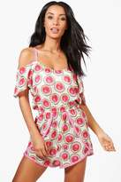boohoo Freya Watermelon Cold Shoulder Beach Playsuit pink