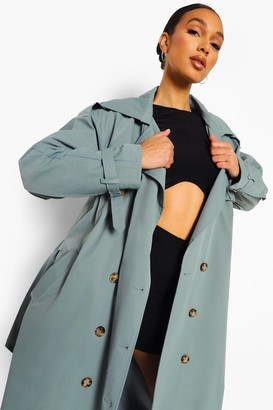 boohoo Oversized Woven Belted Trench Coat