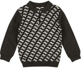 River Island Mini boys grey geometric print polo top