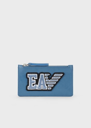 Emporio Armani Travel Essential Zipped, Leather Card Holder With Ea Patch