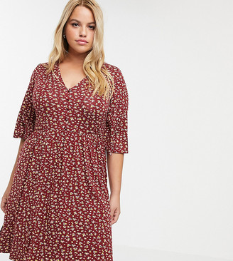 ASOS DESIGN Curve floral mini button front swing dress