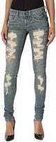 TheMogan Women's Hand Ripped Low Rise Fade Blue Super Skinny Jeans