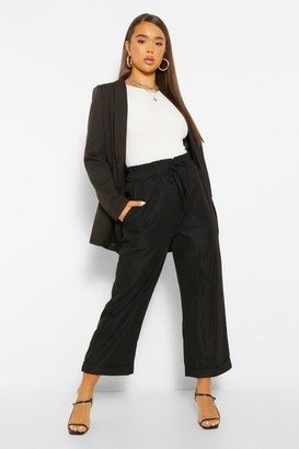 boohoo Oversized Cropped Tie Waist Pants
