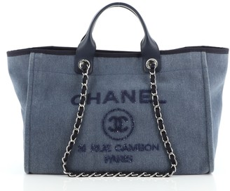 Chanel Deauville Tote Denim with Sequins Large