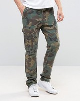 Asos Camo Skinny Chinos In Linen Mix