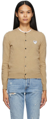 Comme des Garcons Beige and White Heart Patch Cardigan