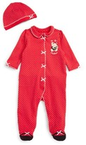 Little Me Infant Girl's Holiday Bear Footie & Hat Set