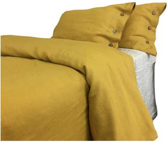Superior Custom Linens Mustard Gold Linen Duvet Cover w/ Wooden Buttons, California King 3-Pi