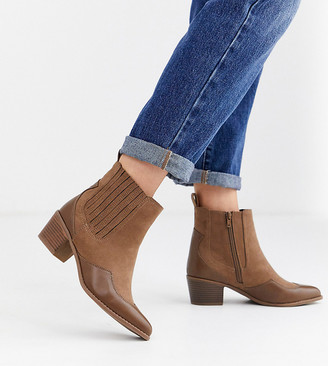 Simply Be extra wide fit Judy western boots in tan
