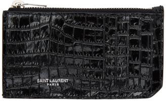 Saint Laurent Black Croc Fragment Card Holder