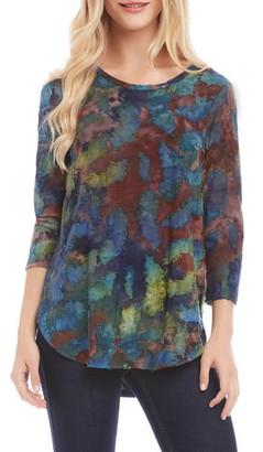 Karen Kane Tie Dye Burnout Top