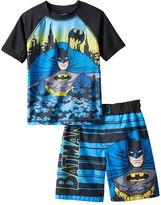 Toddler Boy DC Comics Batman Cityscape Rashguard & Swim Trunks Set