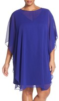 Vince Camuto Plus Size Women's Flutter Sleeve Chiffon Overlay A-Line Dress