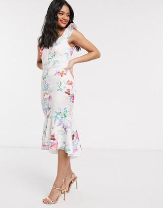 Lipsy x Abbey Clancy glitter chiffon frill maxi dress in cream floral print