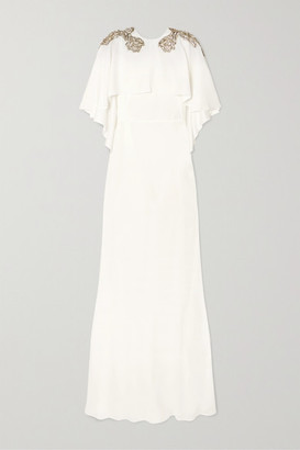 Alexander McQueen Cape-effect Embellished Crepe Gown - Ivory
