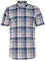 Topman Stone and Navy Check Short Sleeve Casual Shirt
