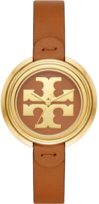 Tory Burch Miller Watch, Luggage Leather/Gold, 36 Mm