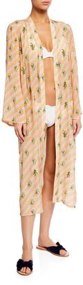 Verandah Printed Hand-Beaded Ultra Soft Kimono Coverup