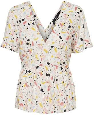 Vero Moda Mida Printed V-Neck Short-Sleeved Blouse