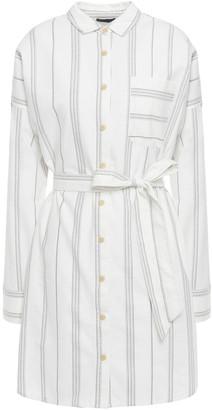 ATM Anthony Thomas Melillo Belted Striped Cotton Mini Shirt Dress