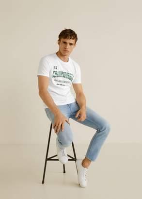 MANGO MAN - Printed cotton-blend t-shirt off white - XS - Men