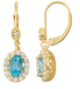Fine Jewelry Genuine Swiss Blue Topaz & Lab-Created White Sapphire 14K Gold Over Silver Leverback Earrings