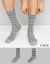 Levis Multi Stripe Socks In 2 Pack Grey