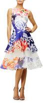 Pamella Roland Lapis Floral-Print Fit-&-Flare Dress, Multi Colors