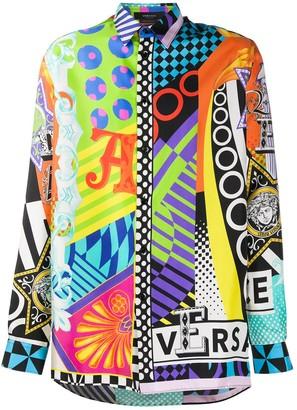 Versace Abstract-Print Long-Sleeve Shirt