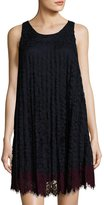 Max Studio Sleeveless Pleated Lace Shift Dress, Blue/Wine
