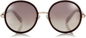 Jimmy Choo ANDIE Burgundy and Copper Gold Metal Round Framed Sunglasses with Crystal Detailing