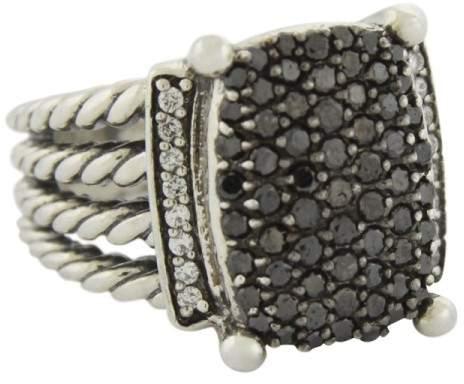 David Yurman 925 Sterling Silver with 1.22ct Black & White Diamond Wheaton Ring Size 7