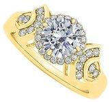 LoveBrightJewelry 1.5 Carat CZ Halo Fashion Ring in 14K Gold
